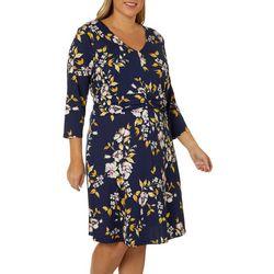 Como Blu Plus Floral Print Faux Belt Dress