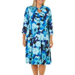 London Times Plus Fit & Flare Keyhole Floral Print Dress