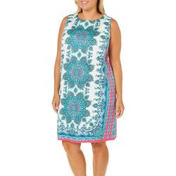 London Times Plus Medallion Border Print Sleeveless Dress