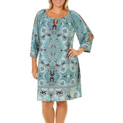 London Times Plus Cutout Sleeves Border Print Dress