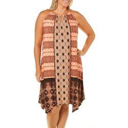 London Times Plus Halter Batik Print Dress