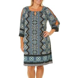 London Times Womens Teal Blue Border Print Dress