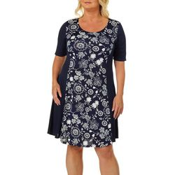 Espresso Womens Floral Puff Print Short Sleeve Dress