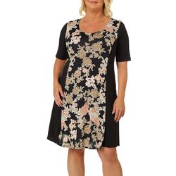 Espresso Womens Puff Print Floral Short Sleeve Dress