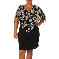 Espresso Plus Leaf Print Tie Sleeve Overlay Dress