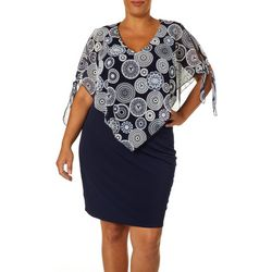 Espresso Plus Medallion Print Tie Sleeve Overlay Dress