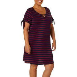 Espresso Plus Stripe Print Tie Sleeve Keyhole Dress
