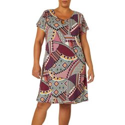 Espresso Plus Patchwork Puff Print Keyhole Dress