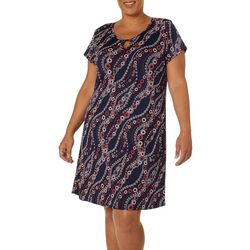 Espresso Plus Circle Waves Puff Print Keyhole Dress