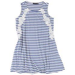 Nina Leonard Plus Lace Stripe Dress