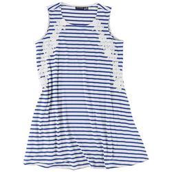 Plus Lace Stripe Dress