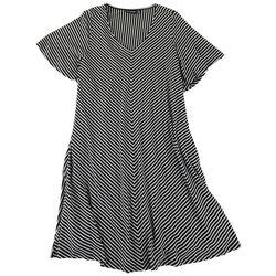 Nina Leonard Plus V-Neck Casual Dress