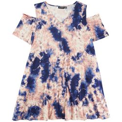 Nina Leonard Plus Cold Shoulder Tie-Dye Dress