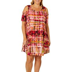 Lexington Avenue Plus Plaid Paint Cold Shoulder Swing Dress