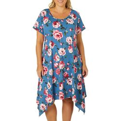Lexington Avenue Plus Rose Print Sharkbite Hem Dress