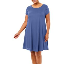 Plus Solid Ribbed T-shirt Dress