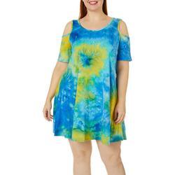 Plus Tie Dye Print Cold Shoulder Sundress