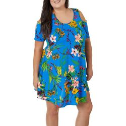 Lexington Avenue Plus Mixed Floral Cold Shoulder Sundress
