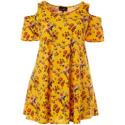 Plus Floral Print Cold Shoulder Dress