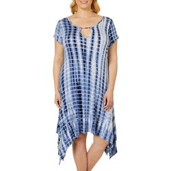 French Atmosphere Plus Tie Dye Keyhole T-Shirt Dress