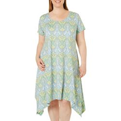 French Atmosphere Plus Elegant Damask T-Shirt Dress