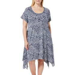 French Atmosphere Plus Floral Medallion T-Shirt Dress