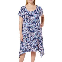 French Atmosphere Plus Floral Paisley T-Shirt Dress