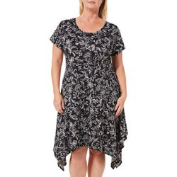 French Atmosphere Plus Floral Scroll Handkerchief Hem Dress