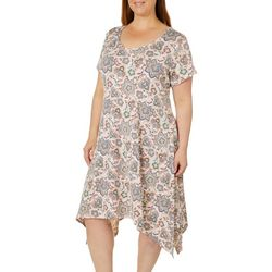 French Atmosphere Plus Boho Floral Handkerchief Hem Dress