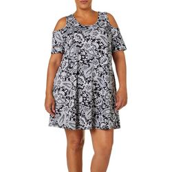 Lexington Avenue Plus Paisley Cold Shoulder Swing Dress