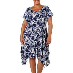 Lexington Avenue Plus Floral Print Sharkbite Hem Dress