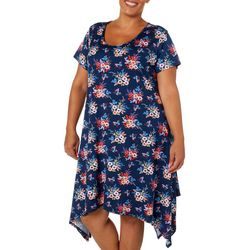 Lexington Avenue Plus Floral Bouquet Sharkbite Hem Dress