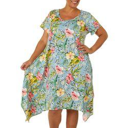 Lexington Avenue Plus Tropica Floral Sharkbite Hem Dress