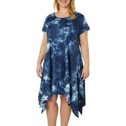 Plus Tie Dye Sharkbite Hem Dress