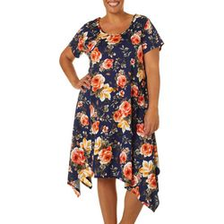 Plus Floral Design Sharkbite Hem Dress