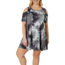 Lexington Avenue Plus Tie Dye Print Cold Shoulder Sundress