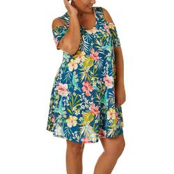 Lexington Avenue Plus Floral Design Cold Shoulder Sundress