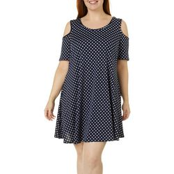 Lexington Avenue Plus Polka Dot Cold Shoulder Sundress