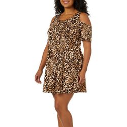 Lexington Avenue Plus Leopard Cold Shoulder Swing Dress
