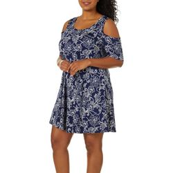 Lexington Avenue Plus Floral Cold Shoulder Swing Dress