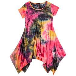 Plus Tie-Dye Print Sharkbite Hem Dress
