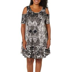 Lexington Avenue Plus Shadow Print Cold Shoulder Swing Dress