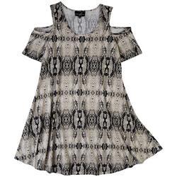 Plus Snake Skin Print Cold Shoulder Dress