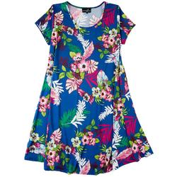 Plus Floral Print Short Sleeve Dress