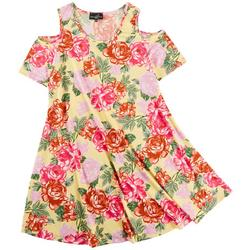 Womens Floral Print Cold Shoulder Dress