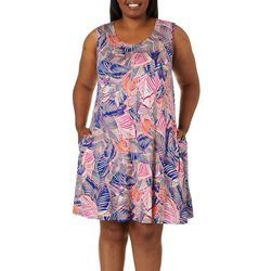 Cupio Plus Tropical Leaf Print Sleeveless Sundress