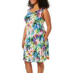 Cupio Plus Tropical Floral Sleeveless Pocket Sundress