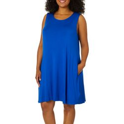 Cupio Plus Solid Sleeveless Pocket Sundress