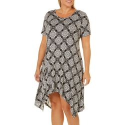Grayson Plus Medallion Print Handkerchief Hem Dress
