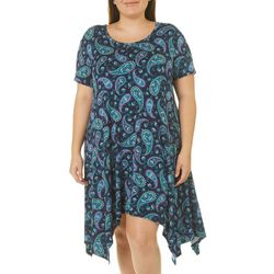 Grayson Plus Floral Paisley Handkerchief Hem Dress